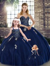 Glamorous Navy Blue Sleeveless Tulle Lace Up 15th Birthday Dress for Military Ball and Sweet 16 and Quinceanera