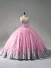 Sweetheart Sleeveless Vestidos de Quinceanera Court Train Beading and Appliques Pink Tulle