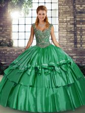 Sleeveless Beading and Ruffled Layers Lace Up 15 Quinceanera Dress