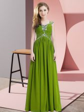 Captivating Olive Green Cap Sleeves Floor Length Beading Lace Up Prom Dresses
