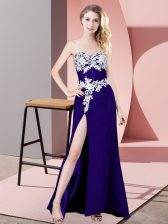 Vintage Purple Column/Sheath Lace and Appliques Prom Party Dress Lace Up Chiffon Sleeveless Floor Length