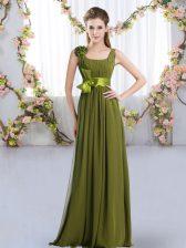 Dramatic Olive Green Sleeveless Chiffon Zipper Dama Dress for Wedding Party