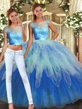 Sophisticated Multi-color Tulle Backless Scoop Sleeveless Floor Length Vestidos de Quinceanera Lace and Ruffles