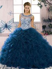Elegant Navy Blue Ball Gowns Organza Scoop Sleeveless Beading and Ruffles Floor Length Lace Up Sweet 16 Dresses