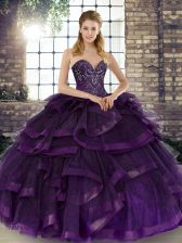 Dazzling Purple Lace Up Sweetheart Beading and Ruffles Quinceanera Dress Tulle Sleeveless