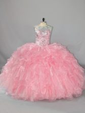 Clearance Pink Ball Gowns Beading and Ruffles Quince Ball Gowns Lace Up Organza Sleeveless Floor Length