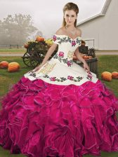 Fuchsia Off The Shoulder Lace Up Embroidery and Ruffles 15 Quinceanera Dress Sleeveless