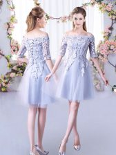 Fine Grey Half Sleeves Tulle Lace Up Dama Dress for Wedding Party