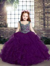 Floor Length Eggplant Purple Little Girls Pageant Dress Straps Sleeveless Lace Up