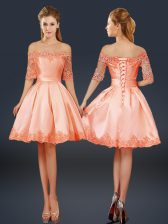 Peach Half Sleeves Lace and Appliques Mini Length Prom Party Dress