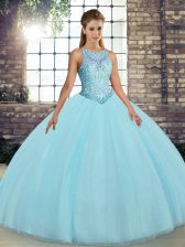 Cheap Aqua Blue Ball Gowns Scoop Sleeveless Tulle Floor Length Lace Up Embroidery Sweet 16 Dresses