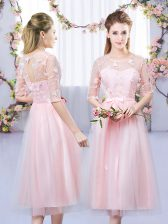 Fancy Baby Pink Lace Up Scoop Lace and Belt Dama Dress Tulle Half Sleeves