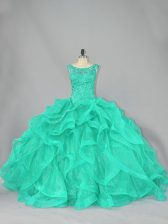 Turquoise Scoop Neckline Beading and Ruffles Quinceanera Gowns Sleeveless Lace Up