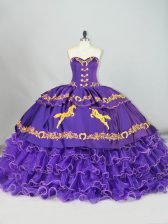 Beautiful Purple Lace Up 15 Quinceanera Dress Embroidery and Ruffled Layers Sleeveless Brush Train