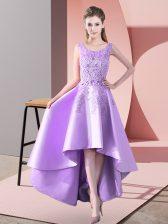 Fine Lavender Sleeveless High Low Lace Zipper Dama Dress