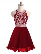 Sumptuous Wine Red Sleeveless Mini Length Beading Lace Up