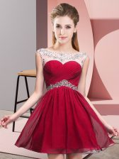 Red A-line Beading and Ruching Backless Chiffon Sleeveless Mini Length