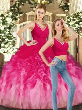 Sleeveless Tulle Floor Length Backless Vestidos de Quinceanera in Multi-color with Ruffles