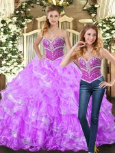 Spectacular Sleeveless Lace Up Floor Length Beading and Ruffles 15th Birthday Dress