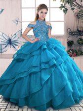 Cute Floor Length Blue Sweet 16 Quinceanera Dress High-neck Sleeveless Lace Up