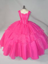 Organza Straps Sleeveless Lace Up Beading Quinceanera Gown in Hot Pink