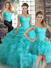 Artistic Off The Shoulder Sleeveless Ball Gown Prom Dress Floor Length Beading and Ruffles and Pick Ups Aqua Blue Organza