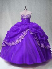 Purple Lace Up Sweet 16 Dress Beading and Appliques and Pick Ups Sleeveless Floor Length