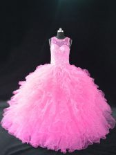 Noble Sleeveless Beading and Ruffles Lace Up Quinceanera Gown