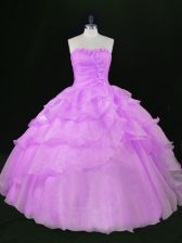 Sweetheart Sleeveless Lace Up Quince Ball Gowns Lavender Organza