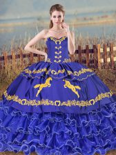 Ball Gowns Sleeveless Blue Quinceanera Dress Brush Train Lace Up