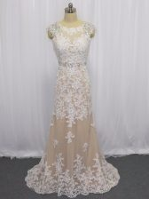 New Arrival Cap Sleeves Beading and Appliques Backless with Champagne Brush Train