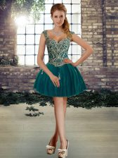 Sumptuous Tulle Sleeveless Mini Length Prom Dress and Beading
