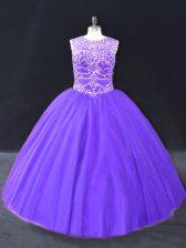 Halter Top Sleeveless 15 Quinceanera Dress Floor Length Beading Purple Tulle