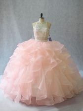 High End Peach Backless Halter Top Beading and Ruffles Sweet 16 Dresses Organza Sleeveless Brush Train