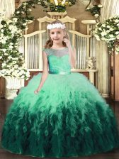 Perfect Scoop Sleeveless Pageant Gowns Floor Length Lace and Ruffles Multi-color Tulle