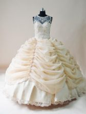 Scoop Sleeveless Quinceanera Gowns Floor Length Lace and Appliques Champagne Organza