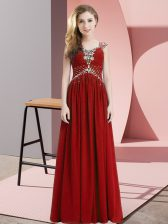 Empire Dress for Prom Red Straps Chiffon Cap Sleeves Floor Length Side Zipper