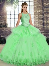 Sleeveless Lace and Embroidery and Ruffles Lace Up Quinceanera Dresses