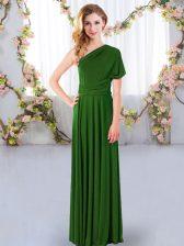 Fantastic Green One Shoulder Neckline Ruching Vestidos de Damas Sleeveless Criss Cross
