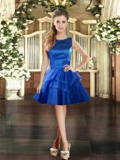 Mini Length Ball Gowns Sleeveless Royal Blue Dress for Prom Lace Up