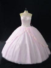Ball Gowns Sleeveless Pink 15 Quinceanera Dress