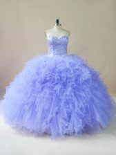Tulle Sweetheart Sleeveless Lace Up Beading and Ruffles Sweet 16 Dress in Lavender