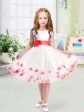 Luxury Knee Length A-line Sleeveless White Toddler Flower Girl Dress Zipper