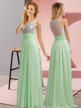 Popular Apple Green Sleeveless Chiffon Side Zipper Court Dresses for Sweet 16 for Wedding Party