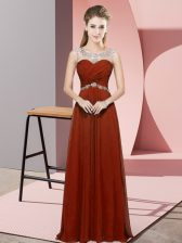 Pretty Sleeveless Floor Length Beading Backless Prom Evening Gown with Rust Red