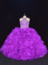 Stunning Floor Length Lace Up Quince Ball Gowns Purple for Sweet 16 and Quinceanera with Beading and Ruffles