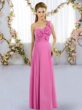Rose Pink Chiffon Lace Up Quinceanera Court Dresses Sleeveless Floor Length Hand Made Flower