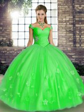Floor Length Ball Gowns Sleeveless Green Quinceanera Dresses Lace Up