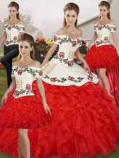 Deluxe White And Red Ball Gowns Embroidery and Ruffles Quince Ball Gowns Lace Up Organza Sleeveless Floor Length