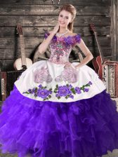 Deluxe Sleeveless Floor Length Embroidery and Ruffles Lace Up Vestidos de Quinceanera with Purple